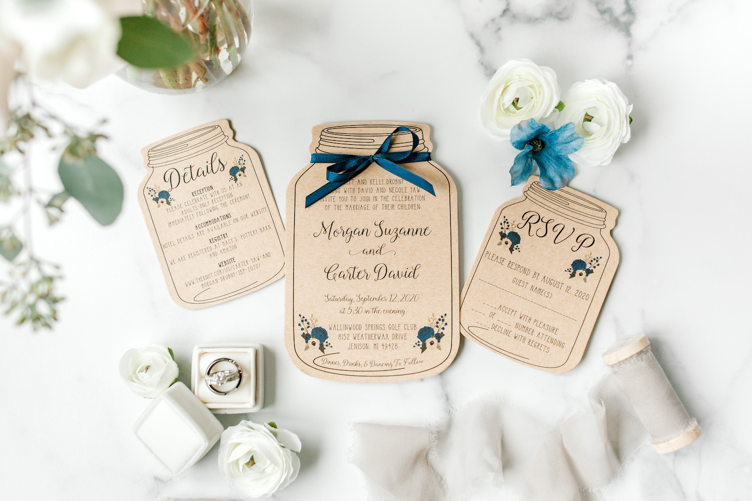 Wallinwood Springs Golf Course wedding stationaries with rings