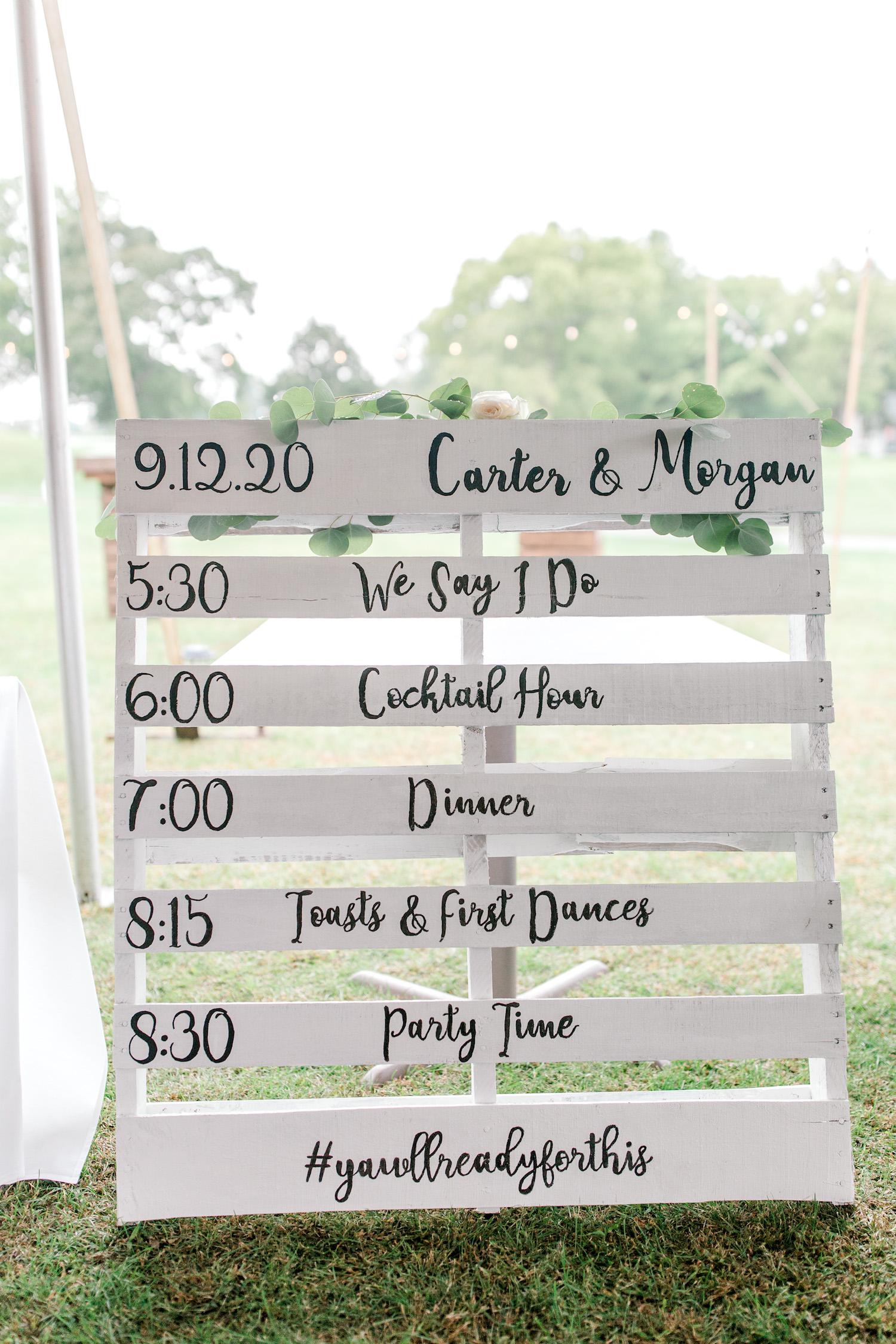 Wallinwood Springs Golf Course wedding timeline on pallet