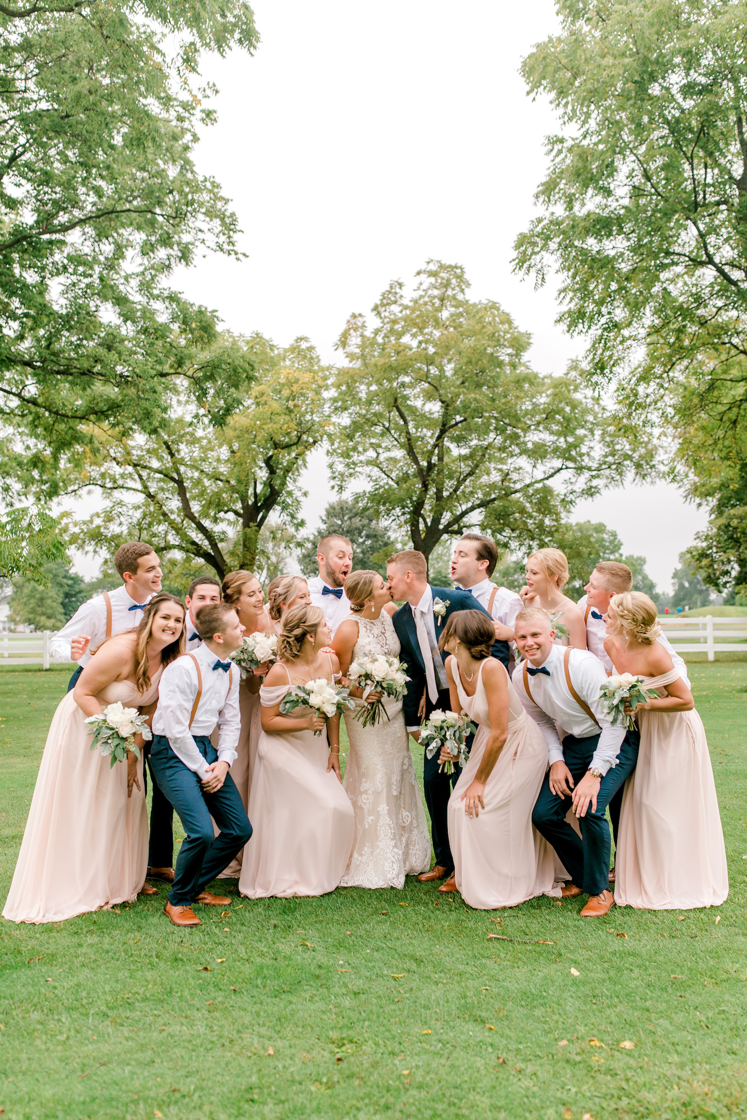 Bridal party gathering together
