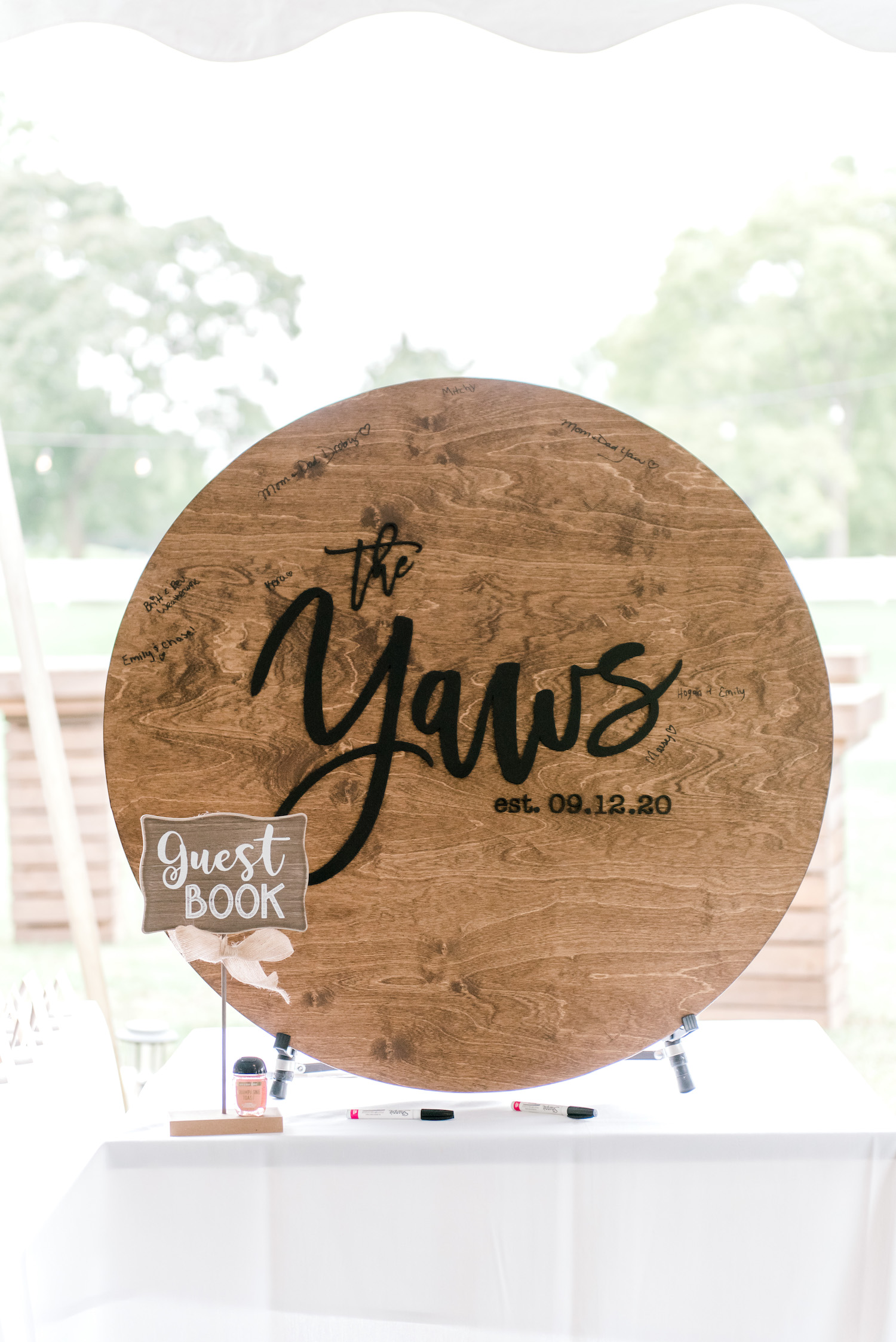 Guest book sign for Wallinwood Springs Golf Course wedding