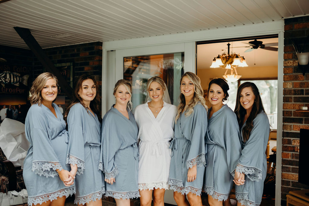 Bride with bridesmaids before Frankfort, IL Wedding