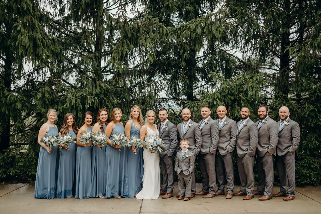 Bridal party standing together before Frankfort, IL Wedding