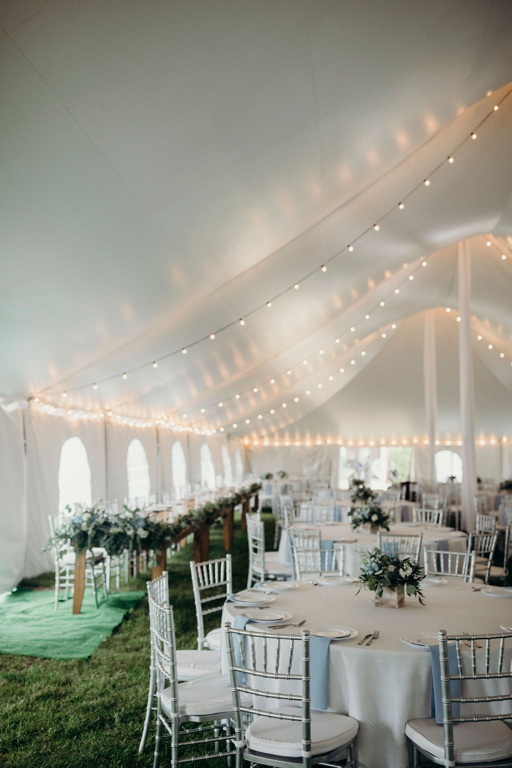 Reception space under tent of Frankfort, IL Wedding