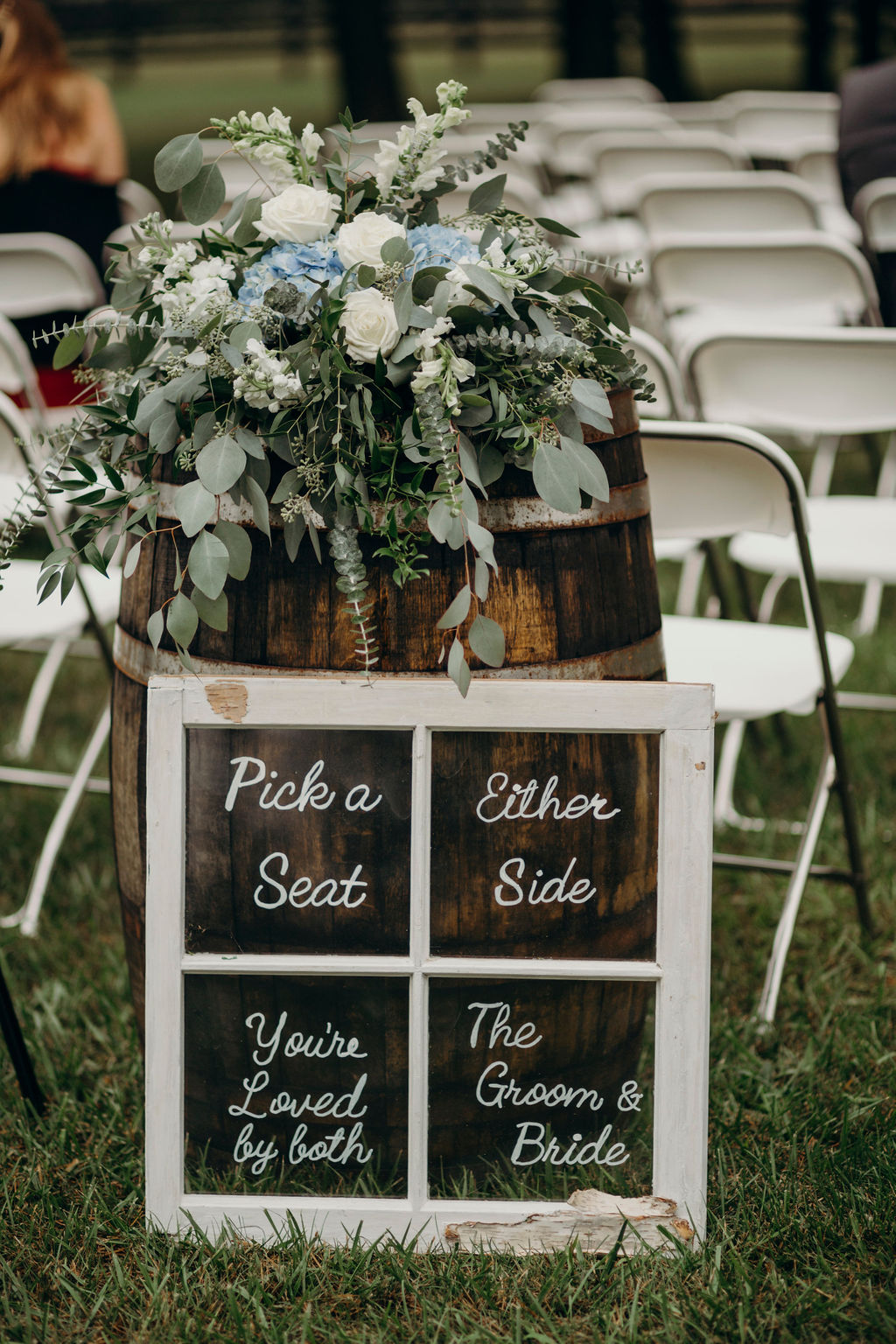 Pick a seat sign at ceremony of Frankfort, IL Wedding