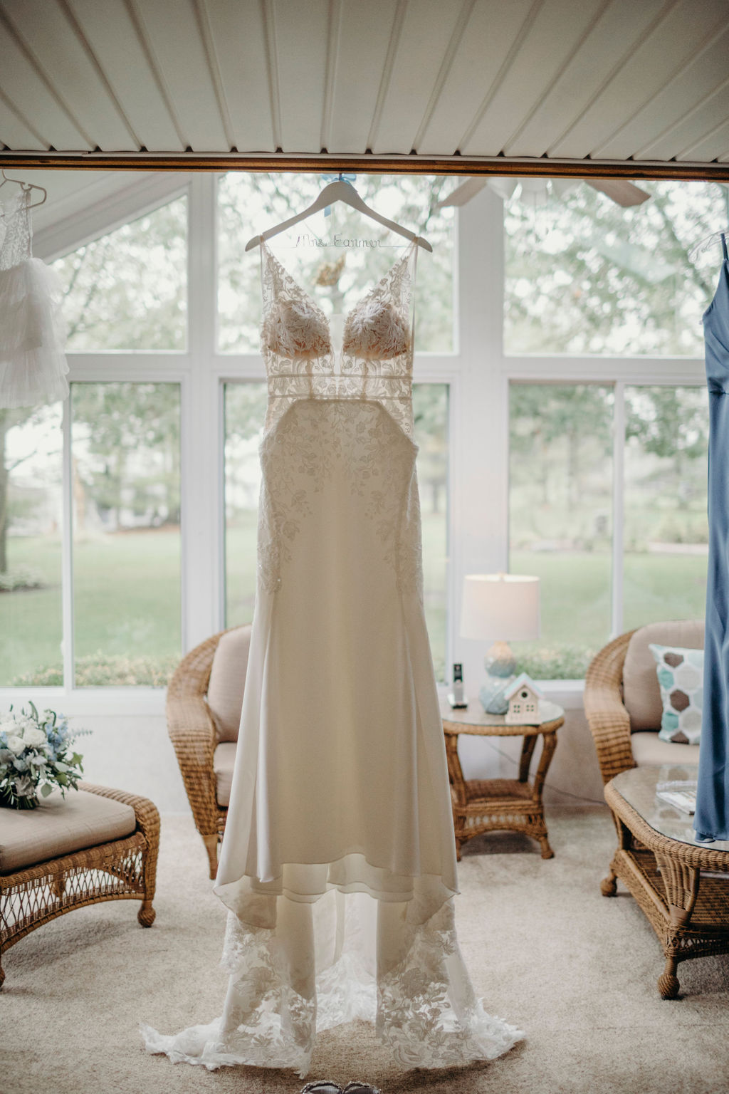 Bridal gown hanging for Frankfort, IL Wedding