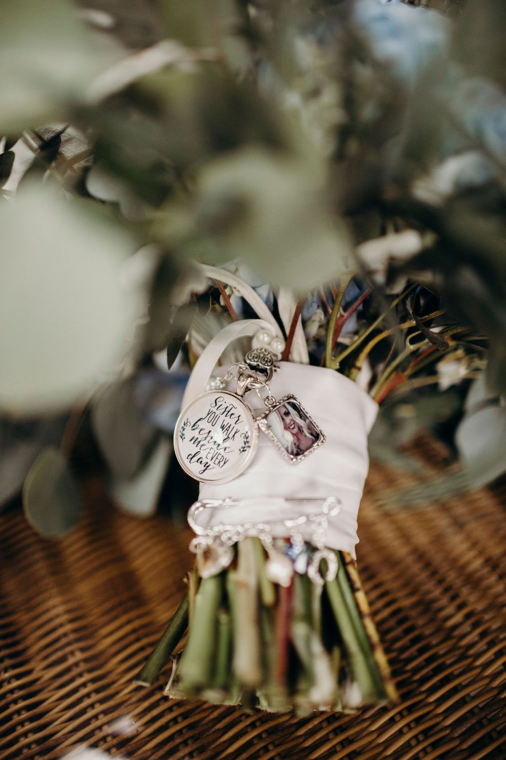 Charms on bridal bouquet
