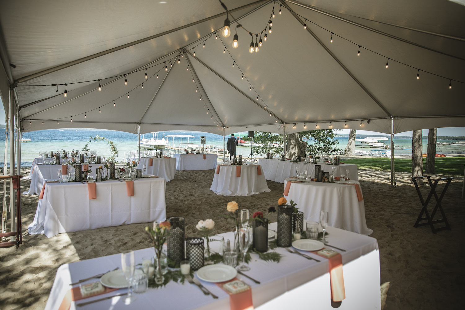 Higgins lake wedding reception tables and tent