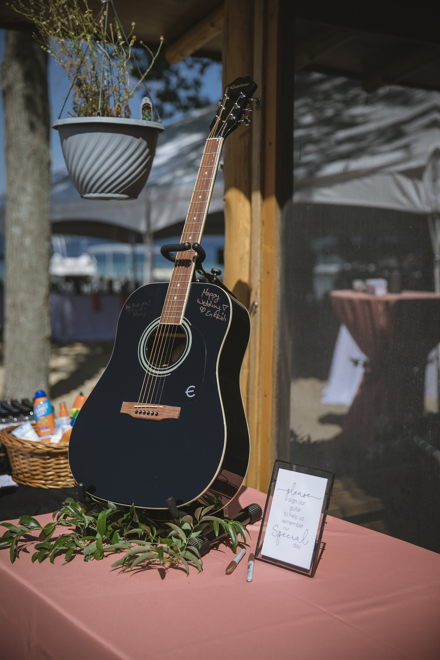 Guitar as guest book of Higgins Lake wedding