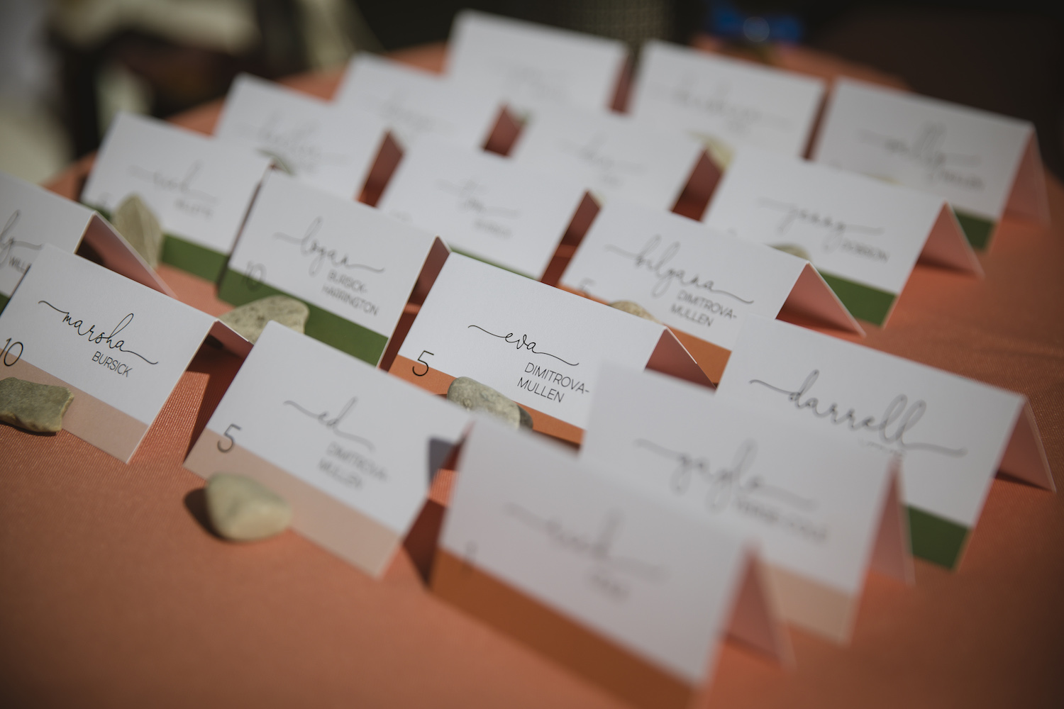 Guest table number cards displayed