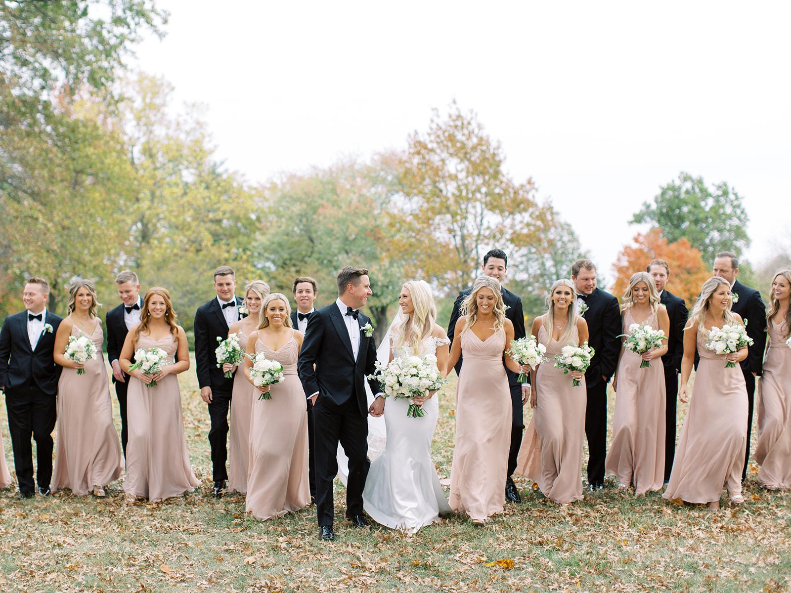 Bridal party walking together at Ritz Charles wedding