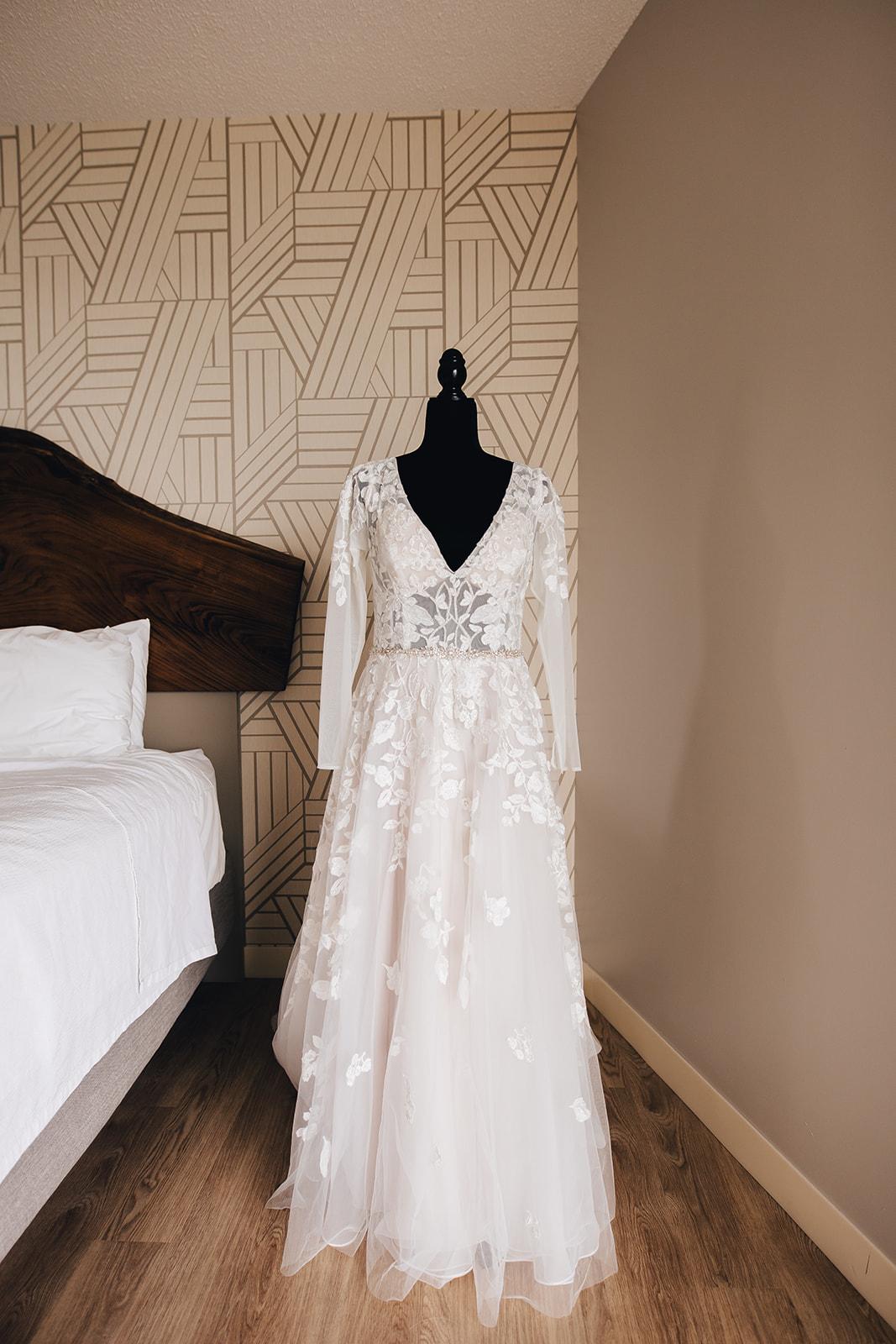 Brides gown on mannequin