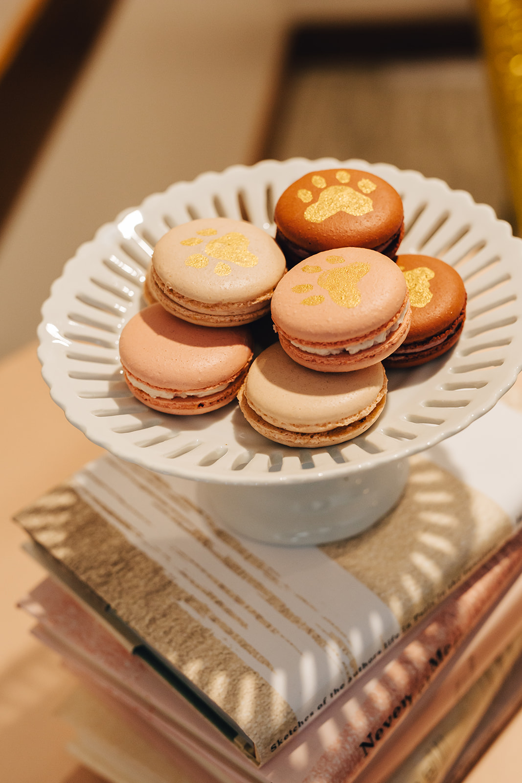 Macaroons with paw prints on them