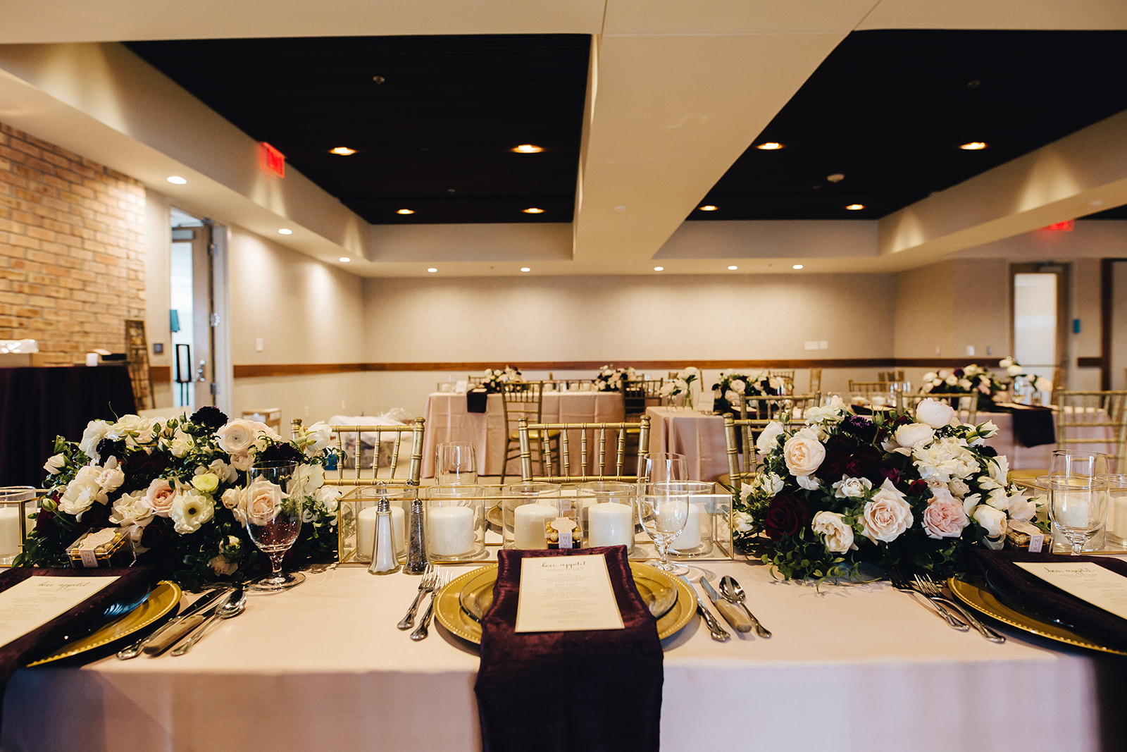 Table and room set up for West Bay Beach wedding