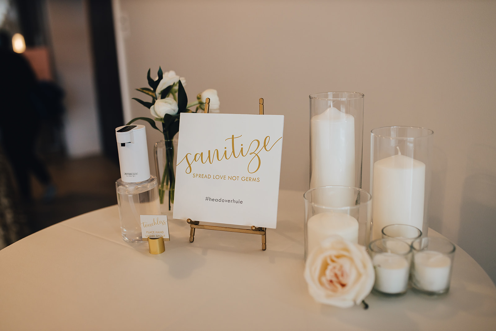 Sanitize sign with candles