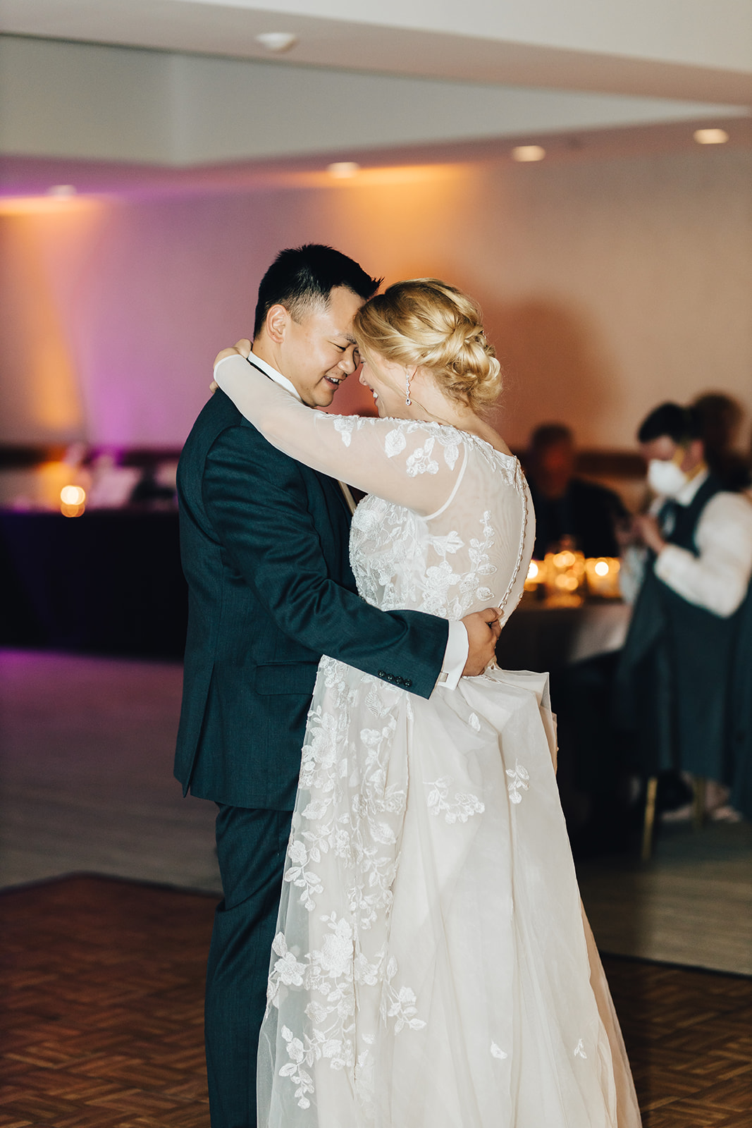 Bride and grooms first dance at their West Bay Beach wedding
