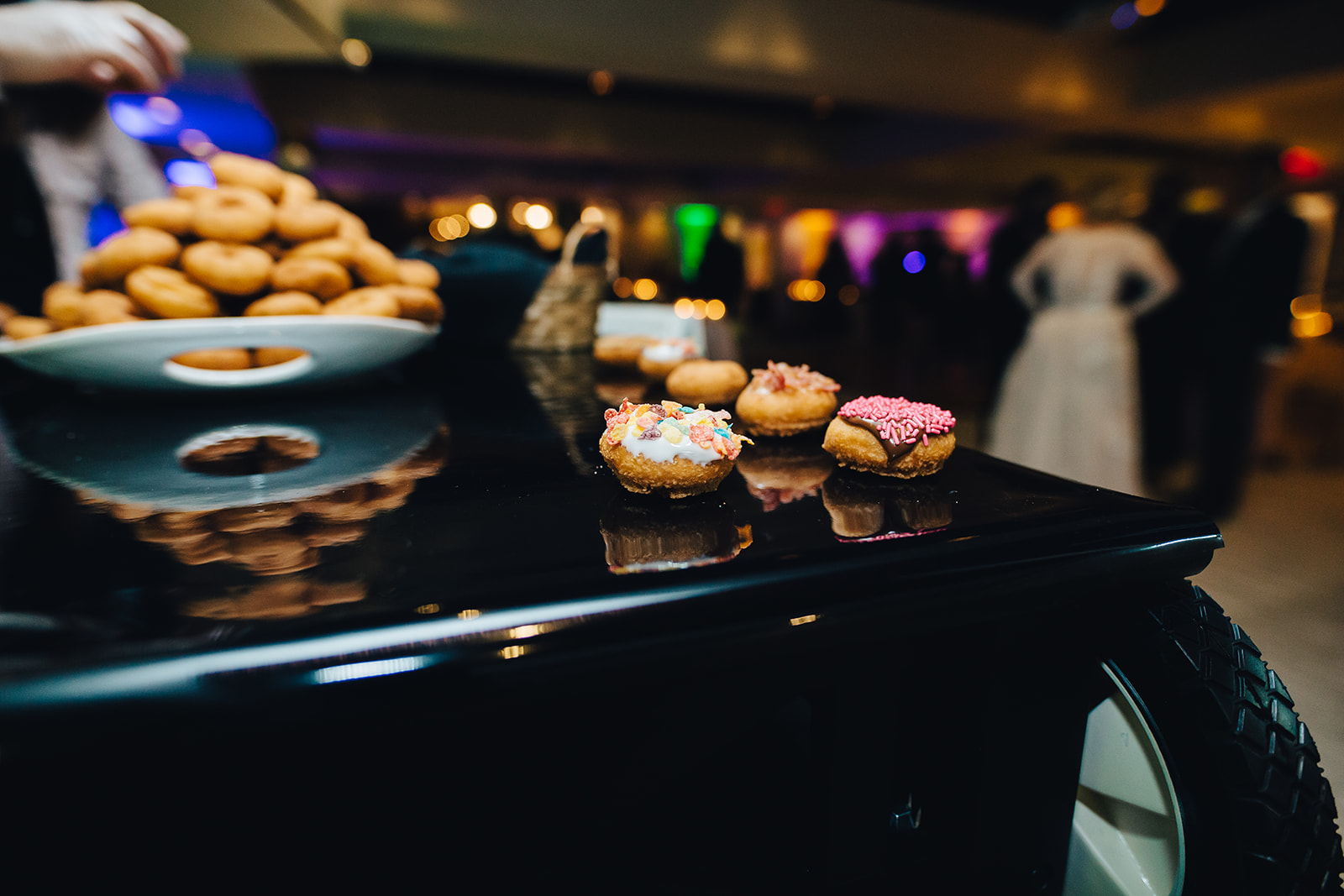 Decorated donuts at West Bay Beach wedding