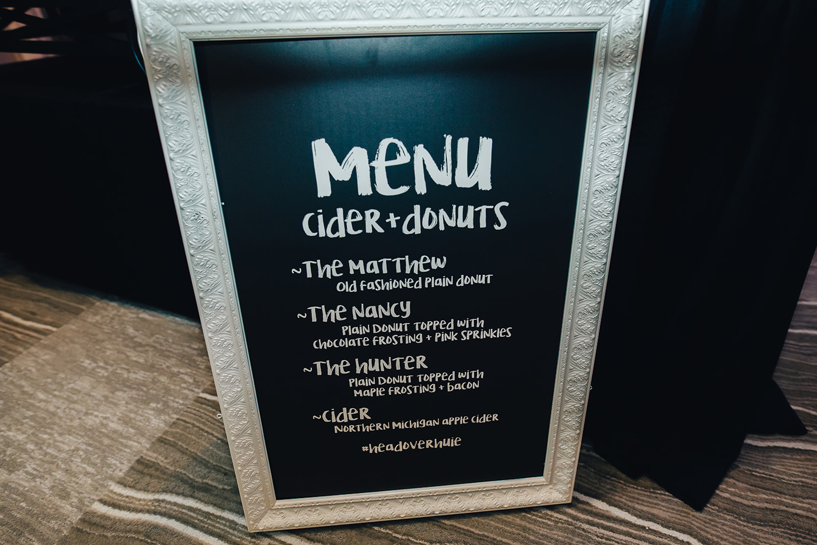 Cider and Donuts menu for West Bay Beach wedding