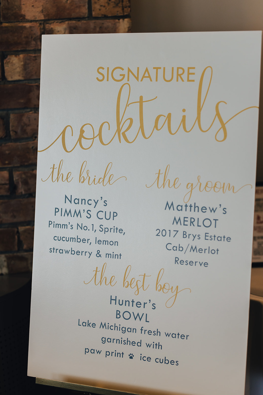 Cocktail menu for West Bay Beach wedding