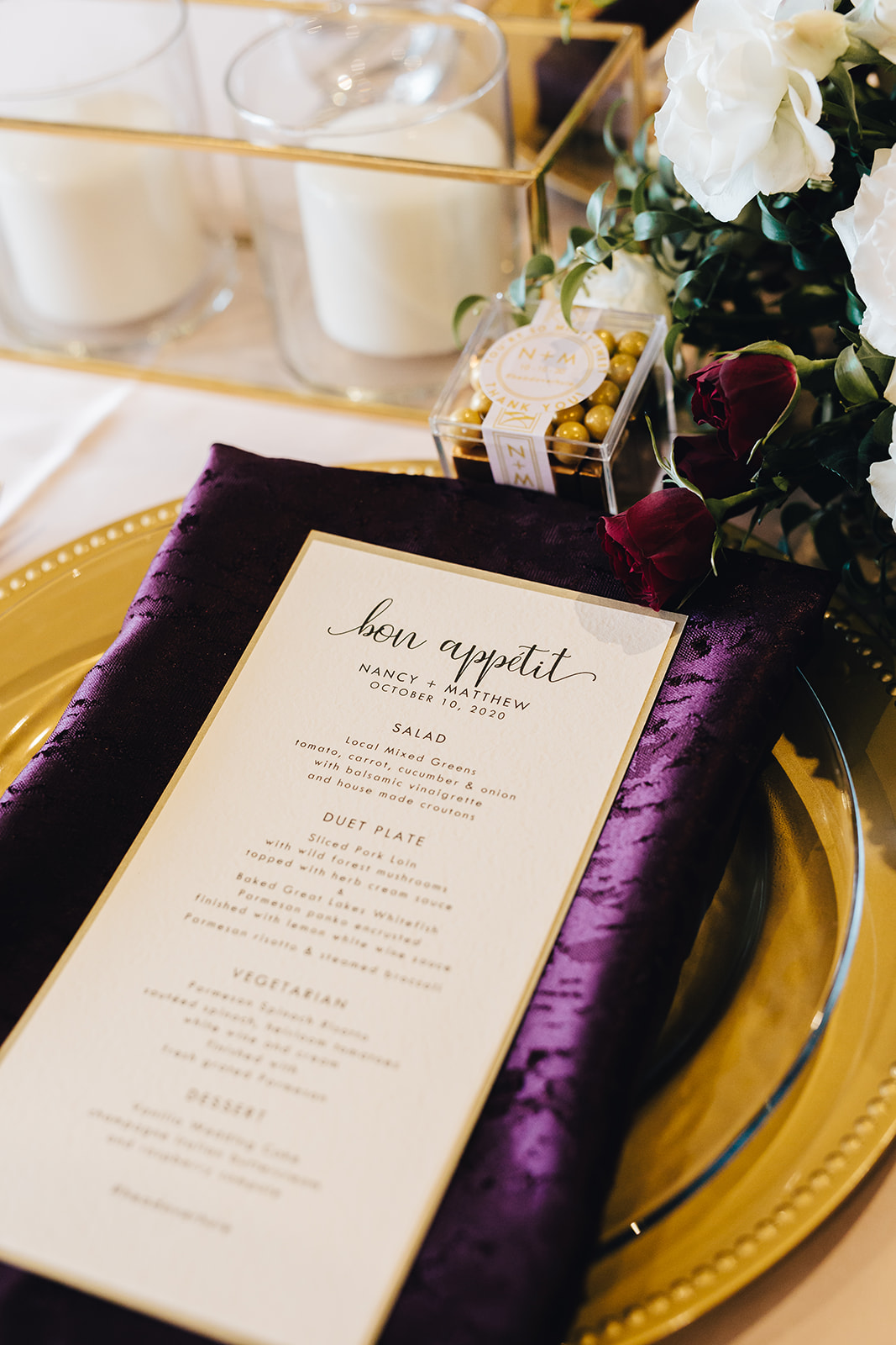 West Bay Beach wedding food menu and plate decor