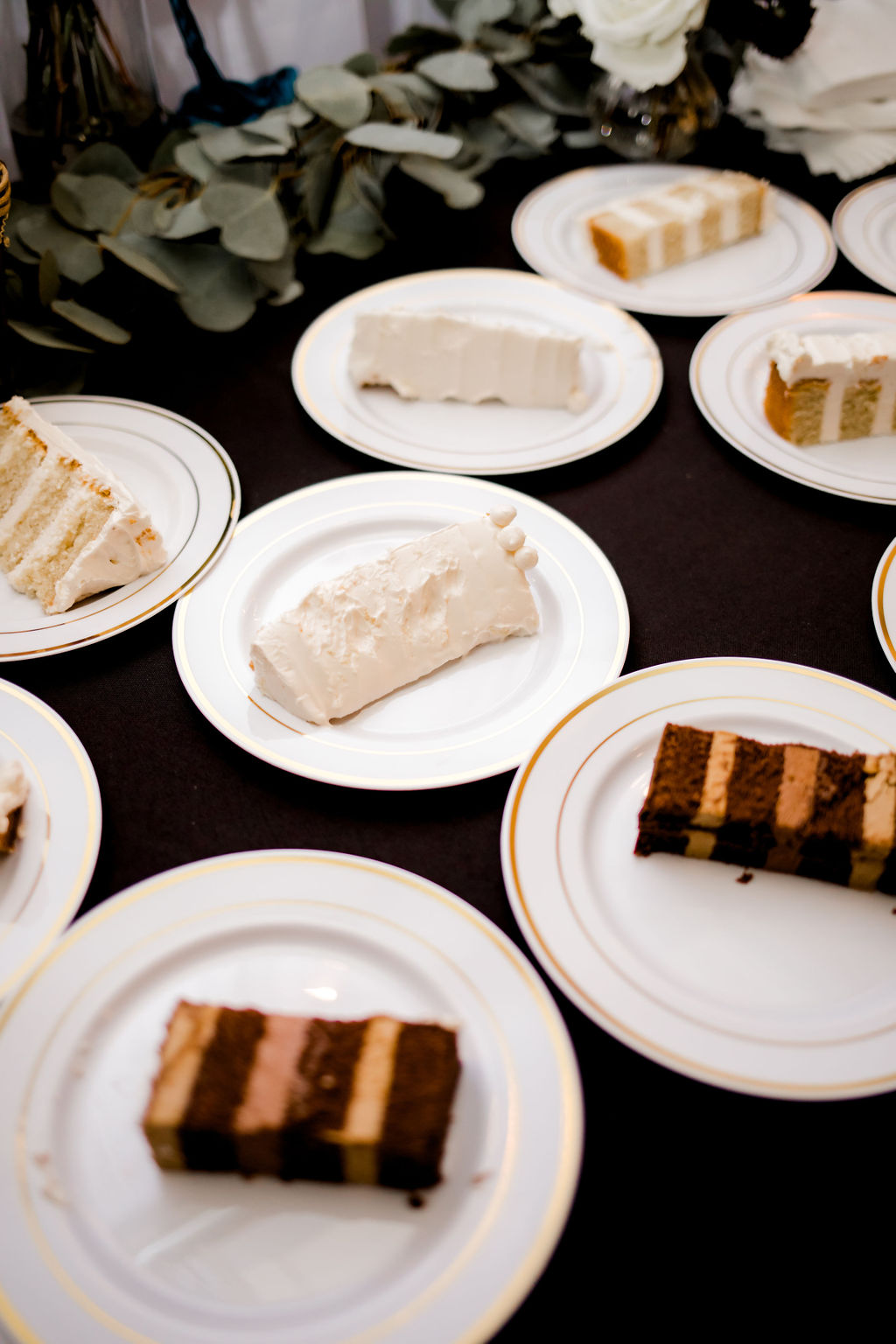 Cut pieces of wedding cake