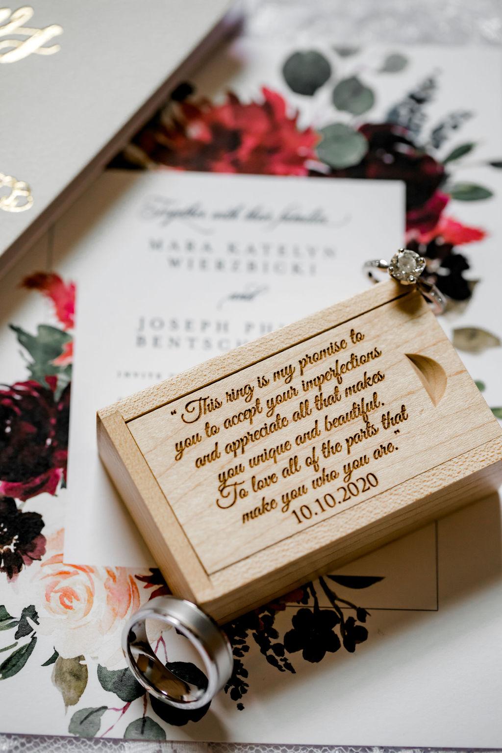 Wedding band box for Jackson, MI Wedding