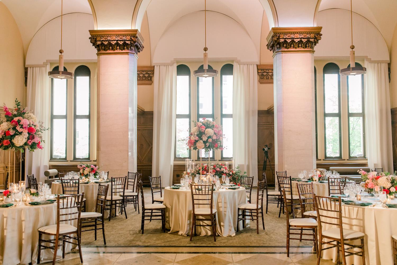 Reception table setup at City Flats Hotel wedding