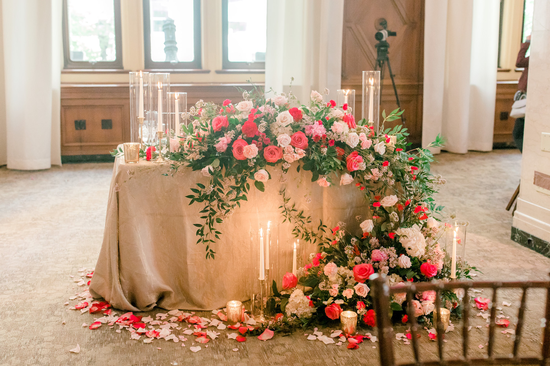 Sweetheart table of City Flats Hotel wedding