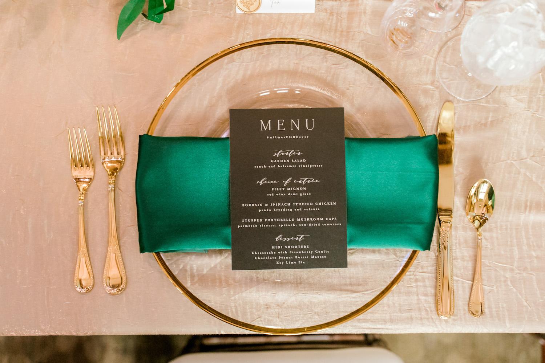 Tableware setup with menu