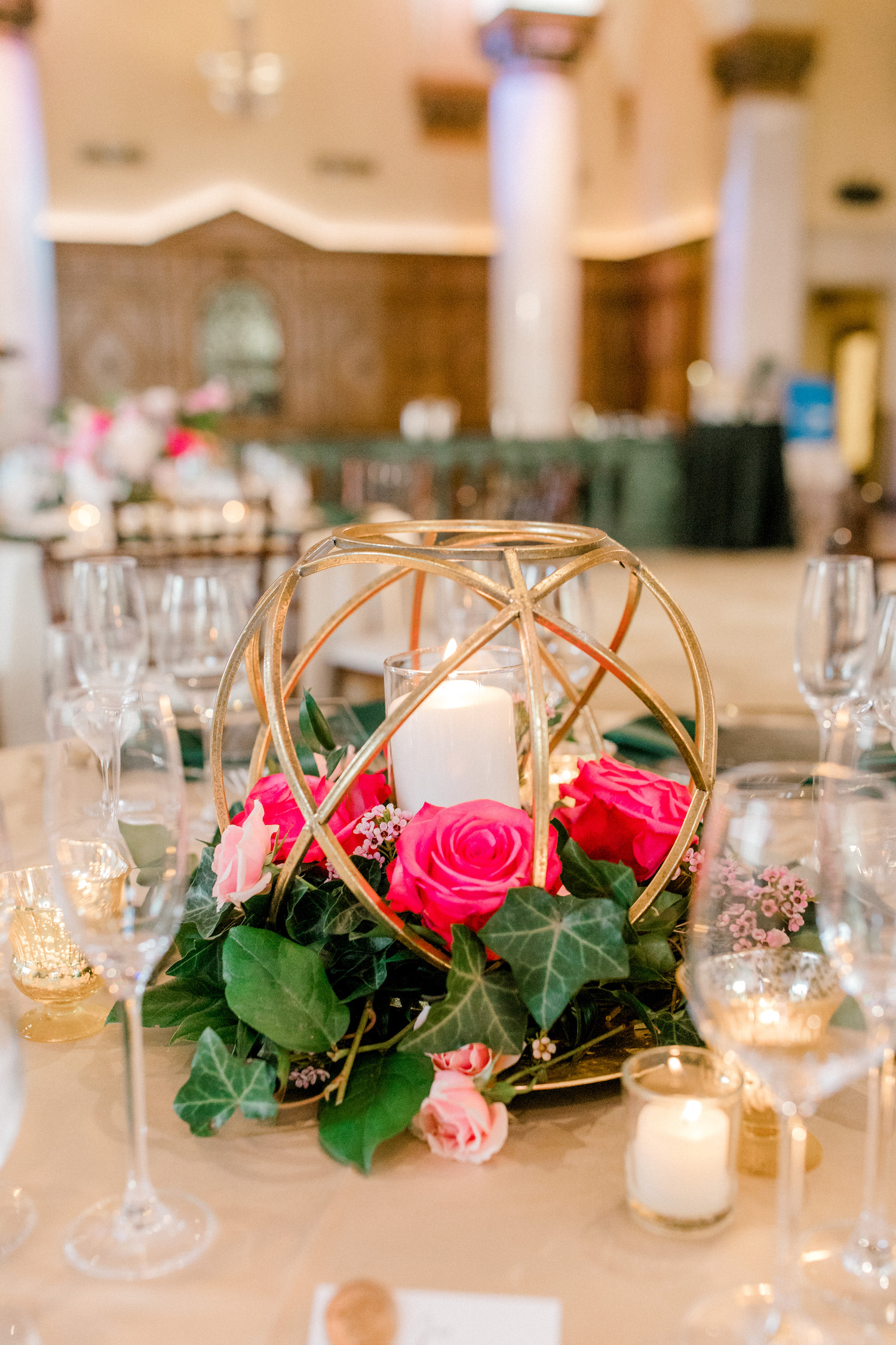 Table centerpiece at City Flats Hotel wedding