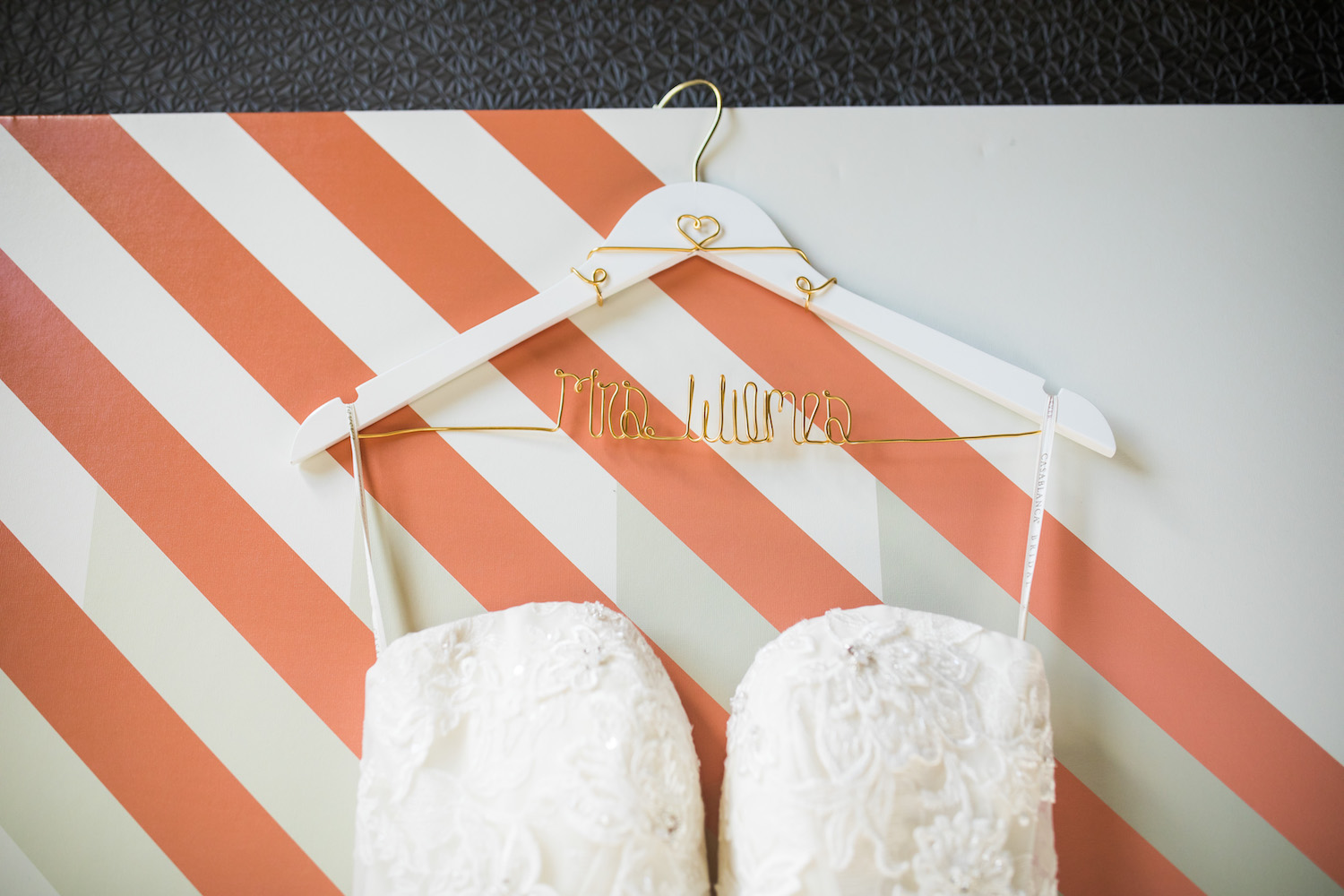 City Flats Hotel wedding bridal hanger and gown