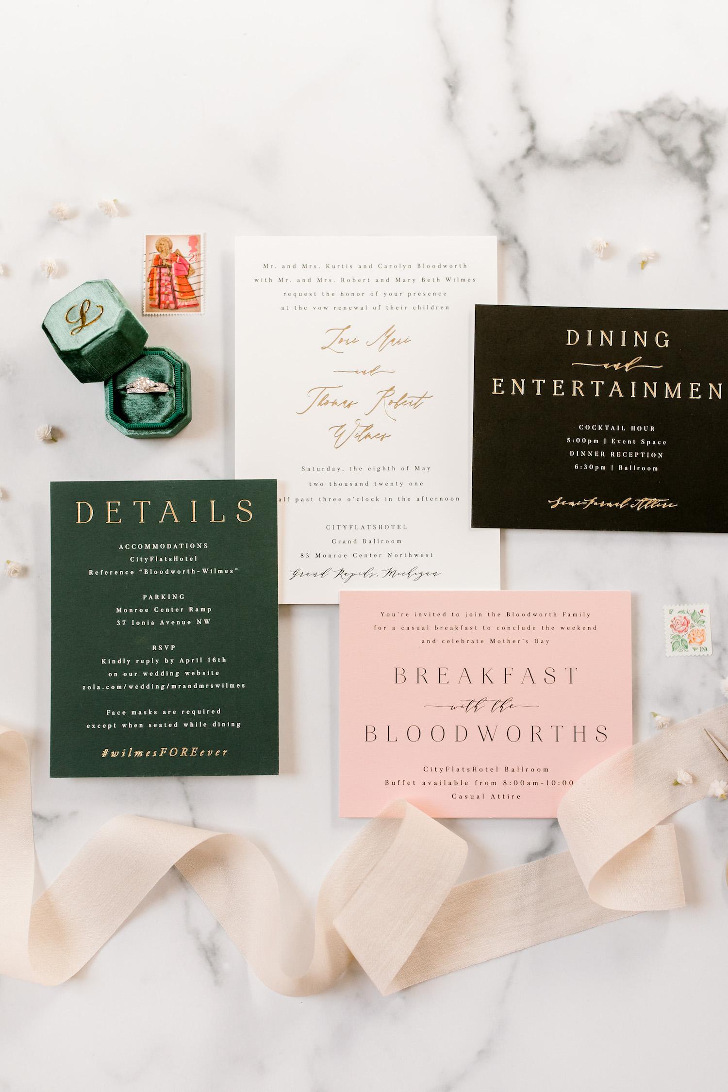 City Flats Hotel wedding stationaries and ringd