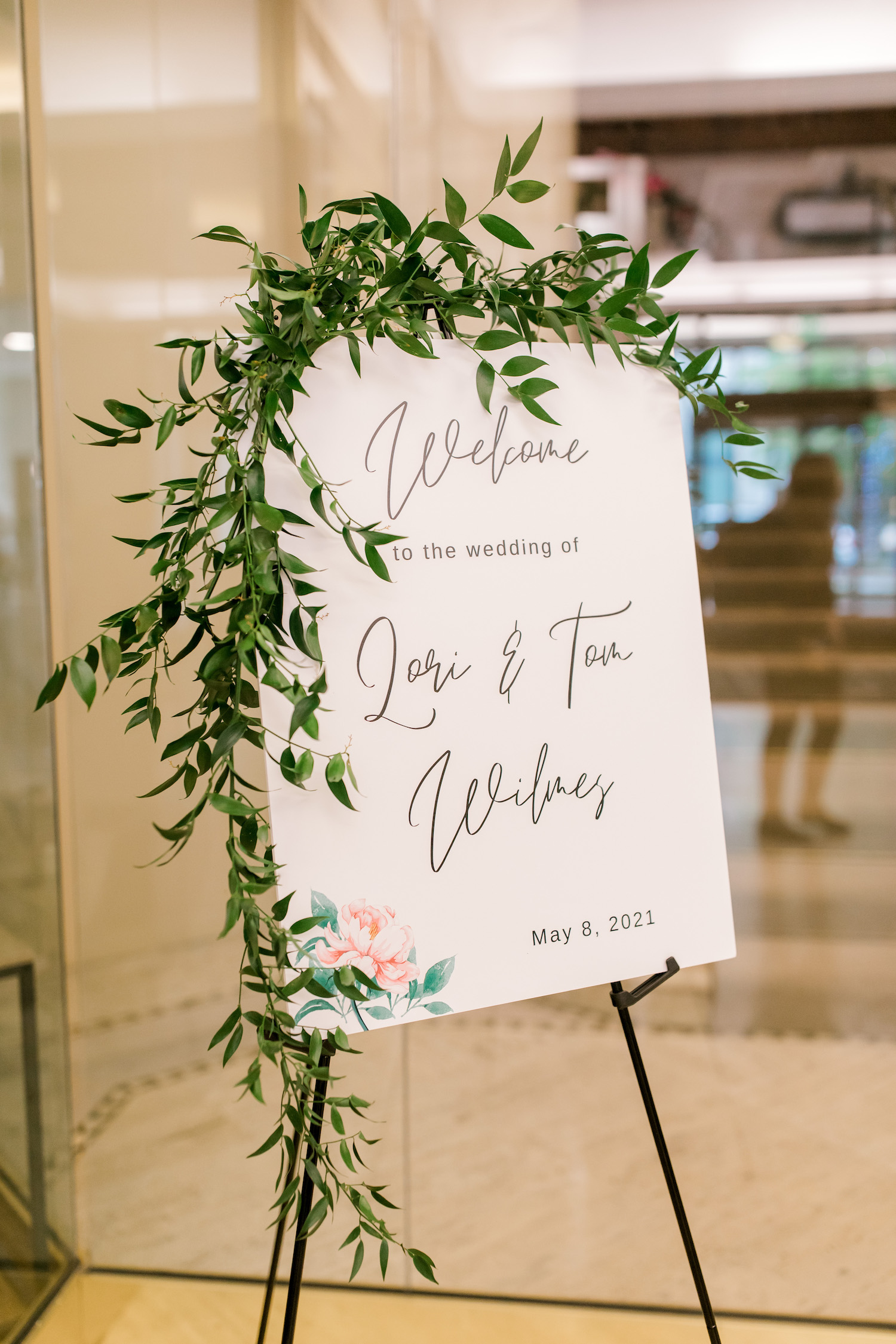 Ceremony welcome sign at City Flats Hotel wedding