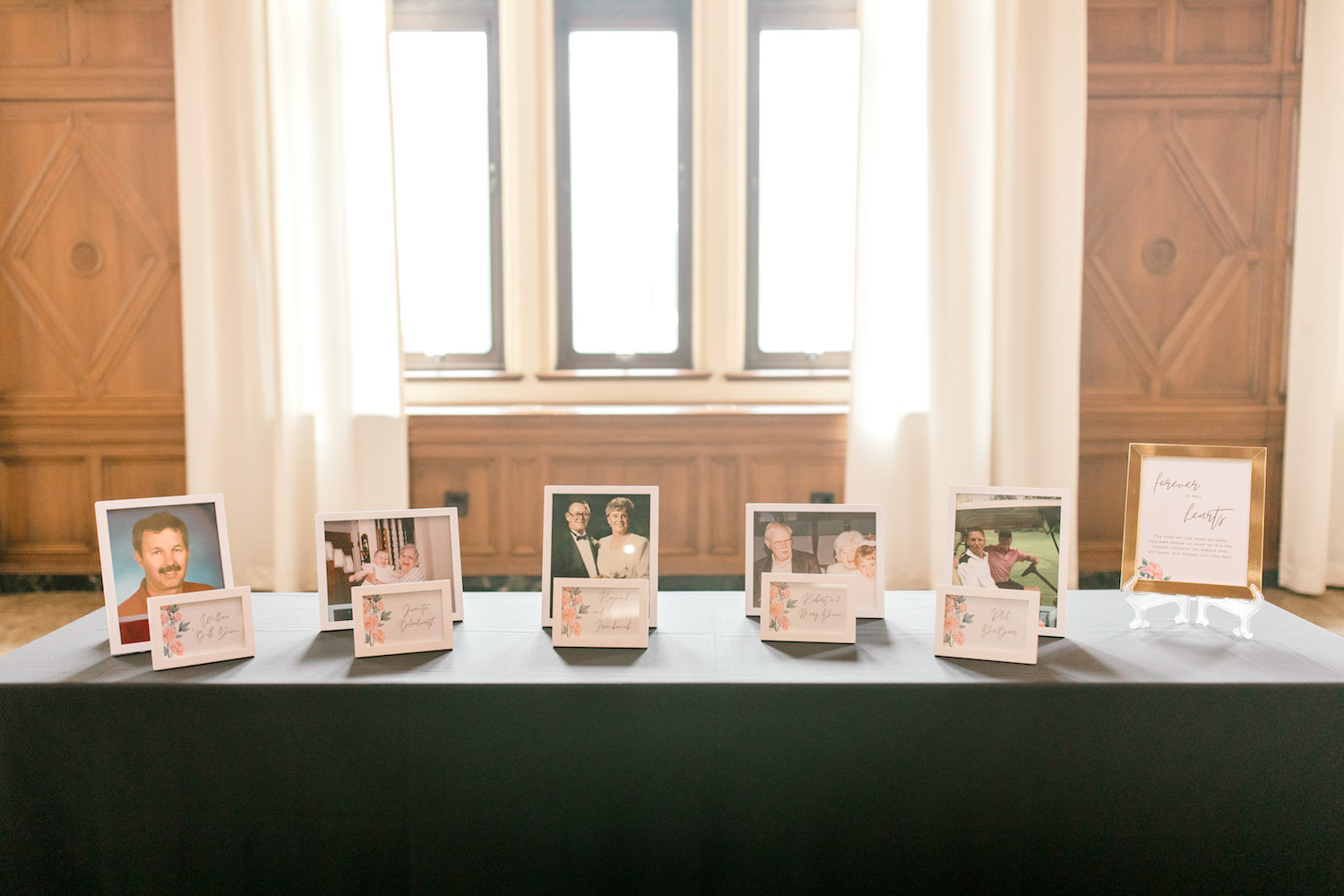 Photos of loved ones on table