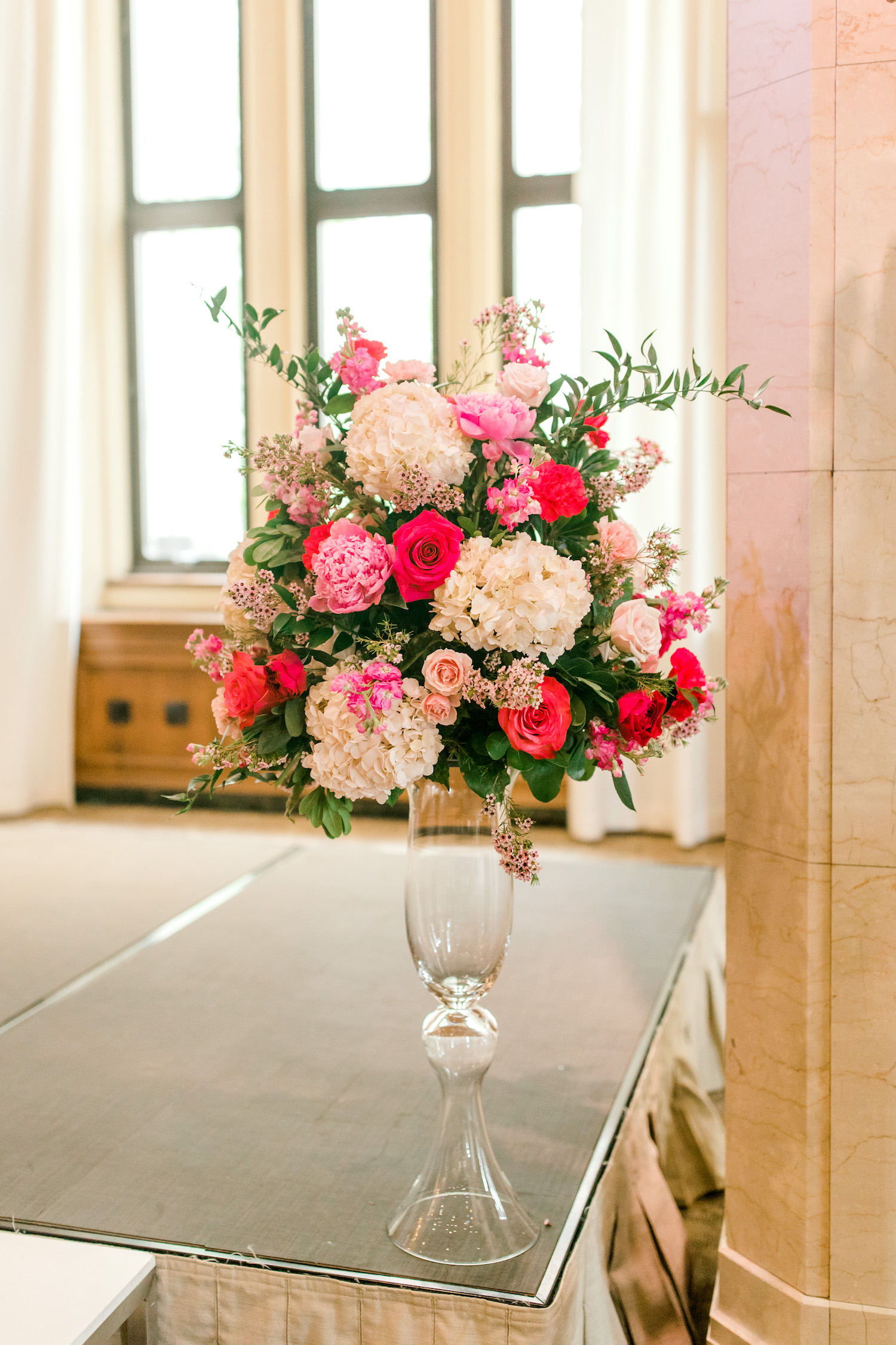 Floral vase at ceremony of City Flats Hotel wedding