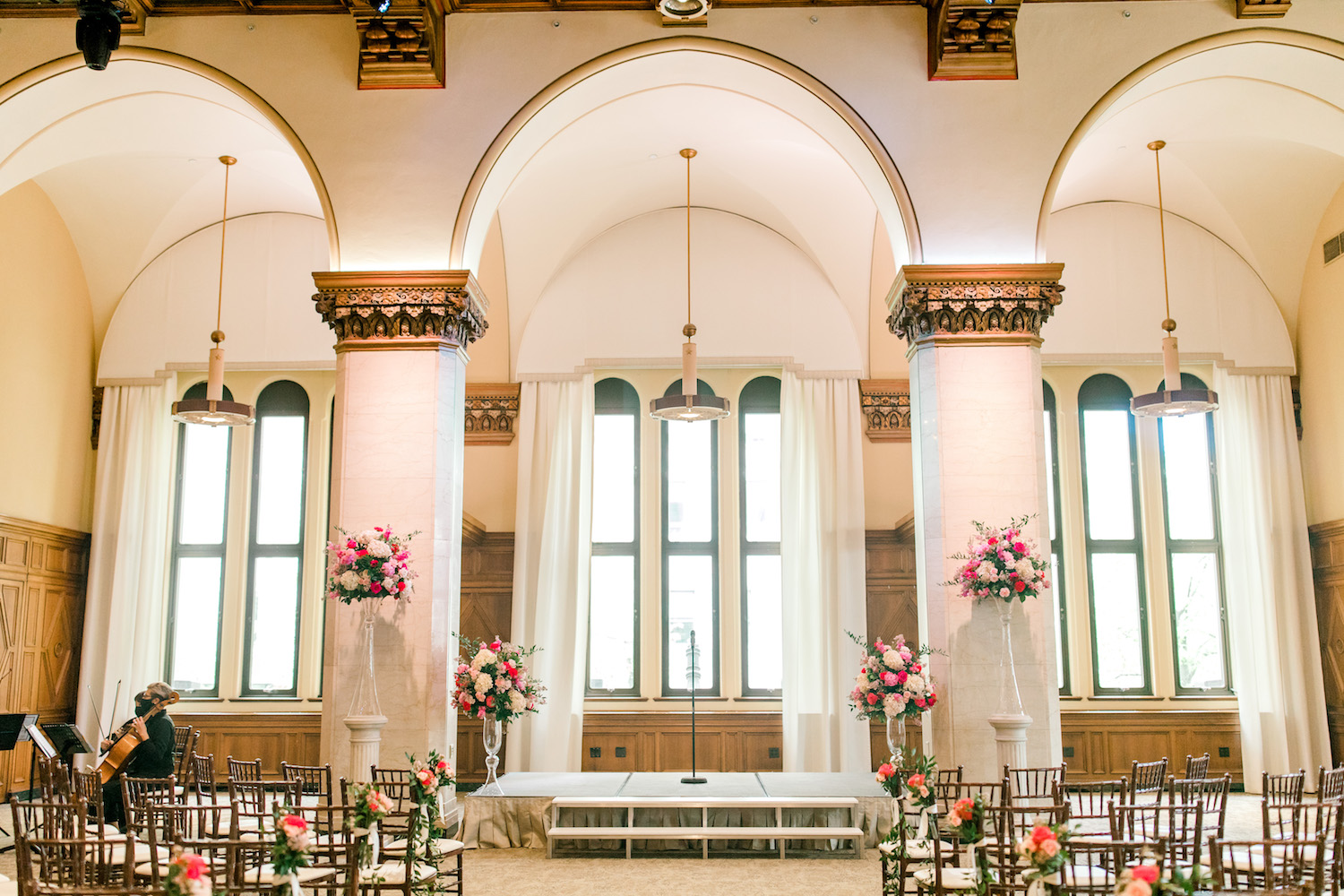 Ceremony space of City Flats Hotel wedding