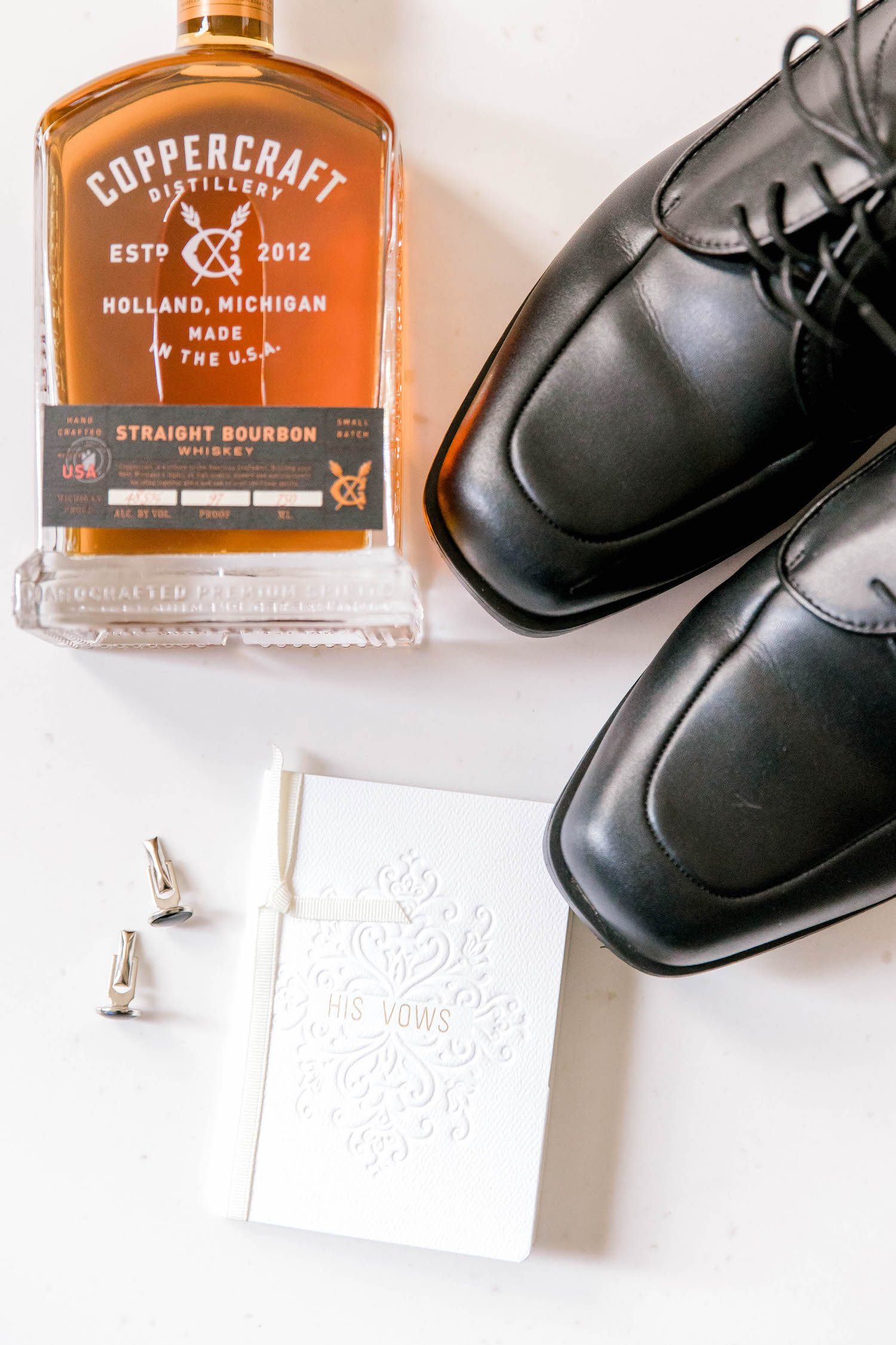 Grooms attire and whiskey for City Flats Hotel wedding
