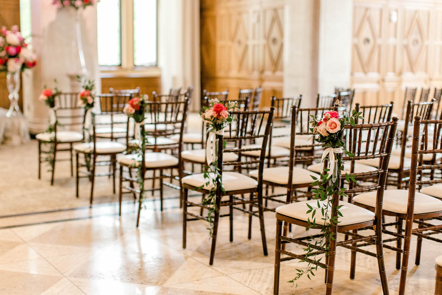 Floral design on aisle chairs