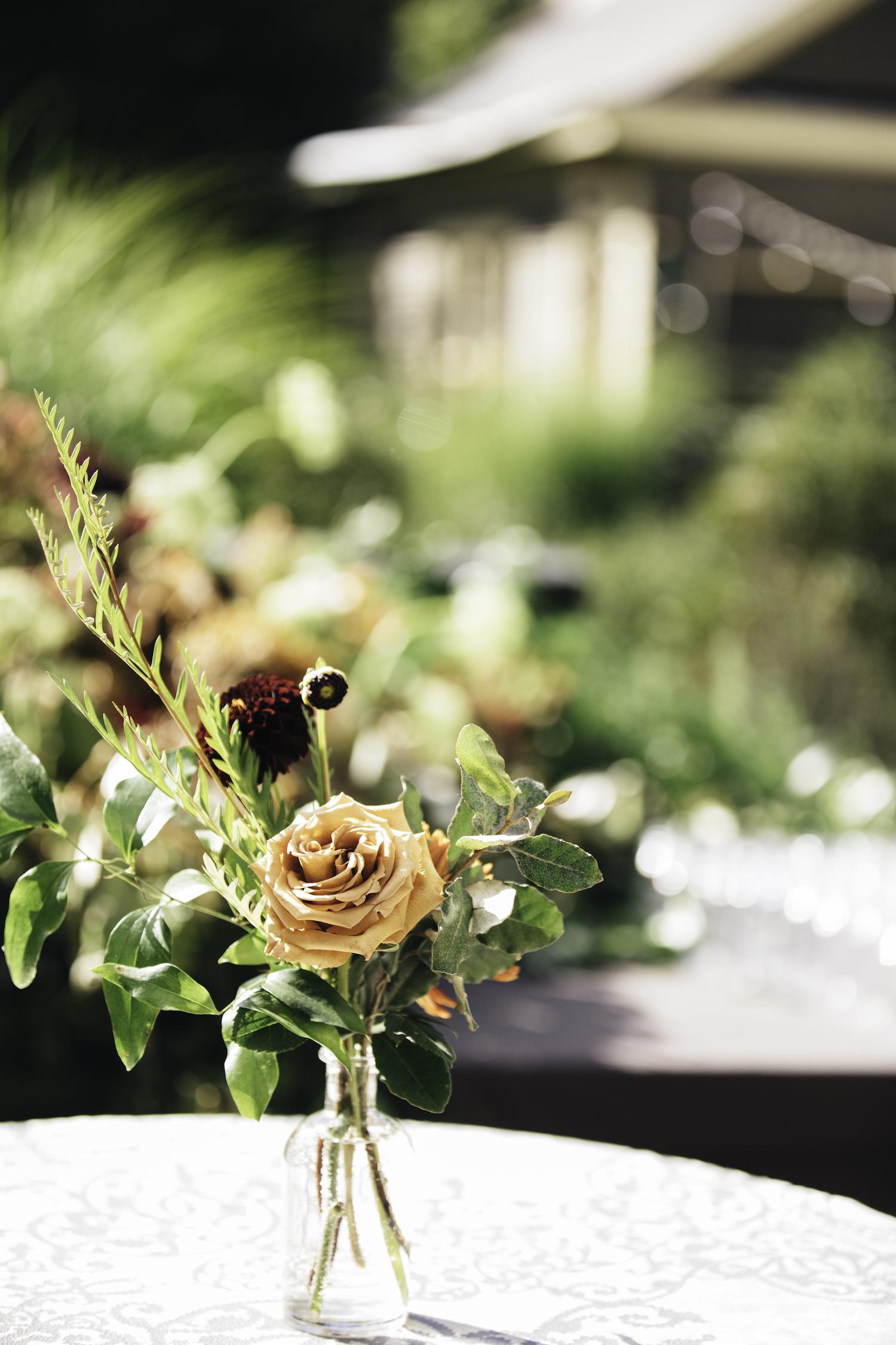 Floral vase at Grand Rapids Backyard wedding