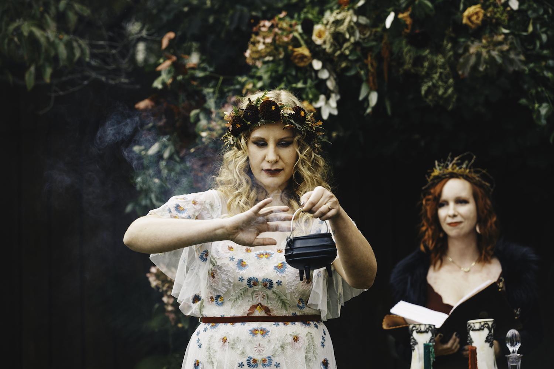 Bride performing pagen ceremony
