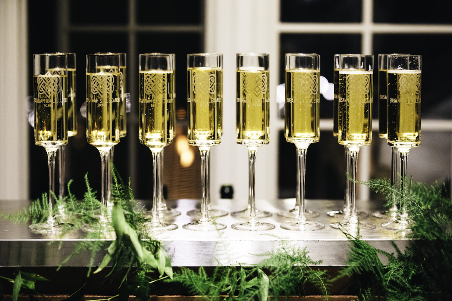 Champagne glasses for guests at Grand Rapids Backyard wedding