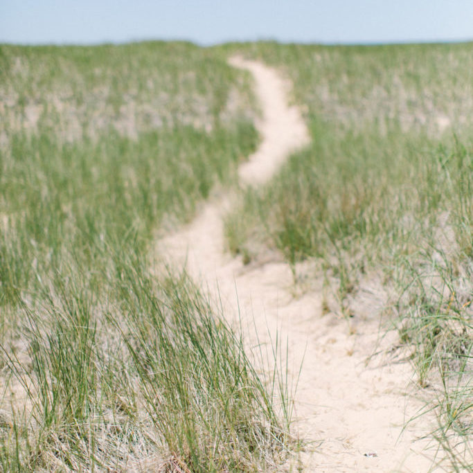 trail in the sand on the beach in Benton Harbor, Michigan